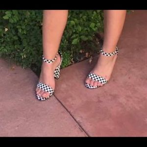 White and black checkered heels from Windsor